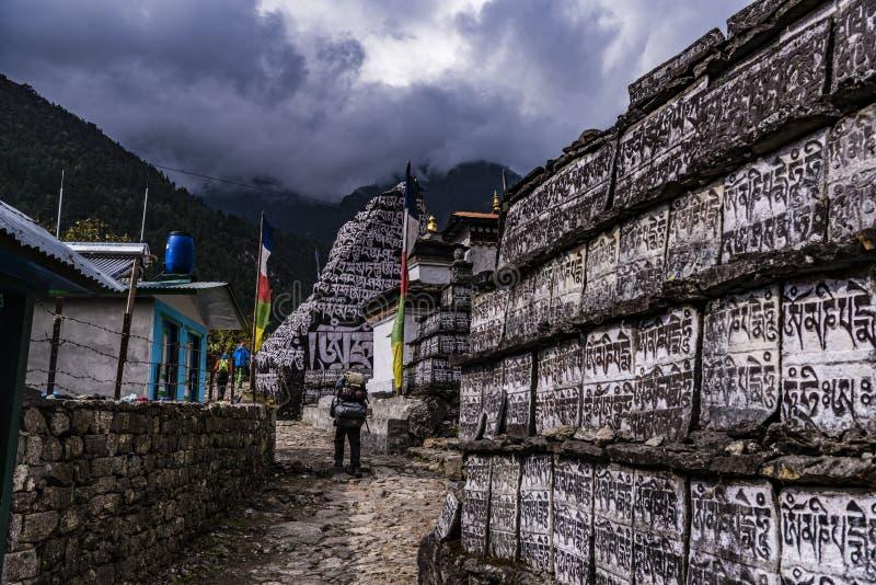 迁徙喜马拉雅山的EBC 免版税库存照片