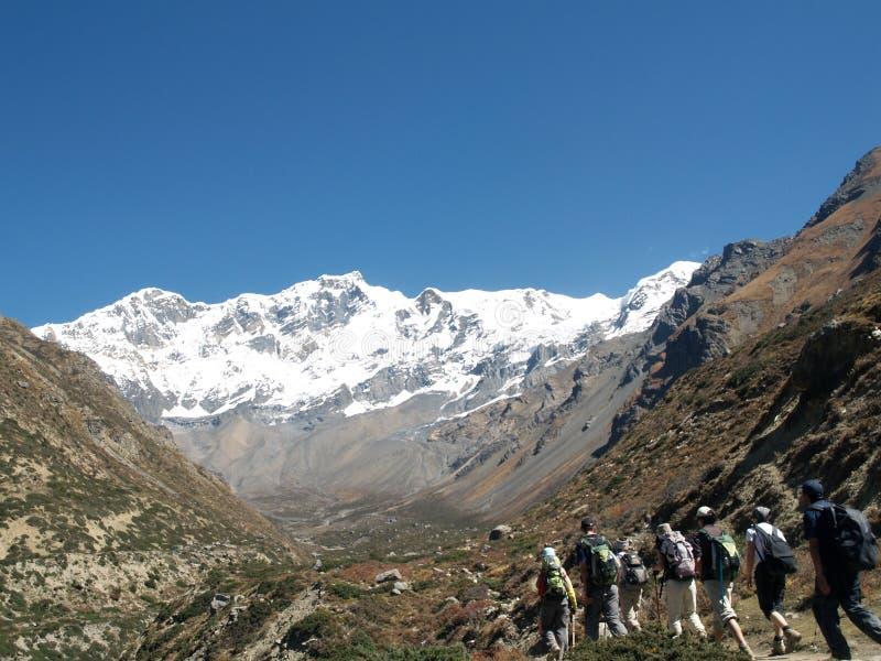 迁徙在安纳布尔纳峰地区的游人 免版税图库摄影