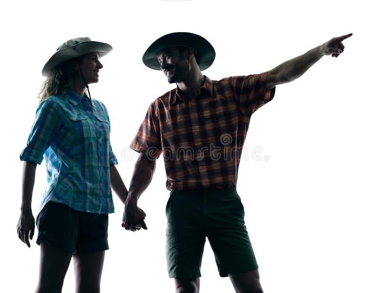 迁徙夫妇的老牛指向自然剪影 免版税库存照片