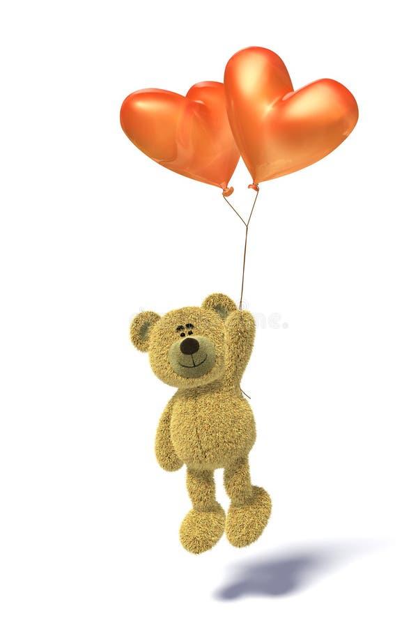 迅速增加熊飞行的心形的nhi 向量例证