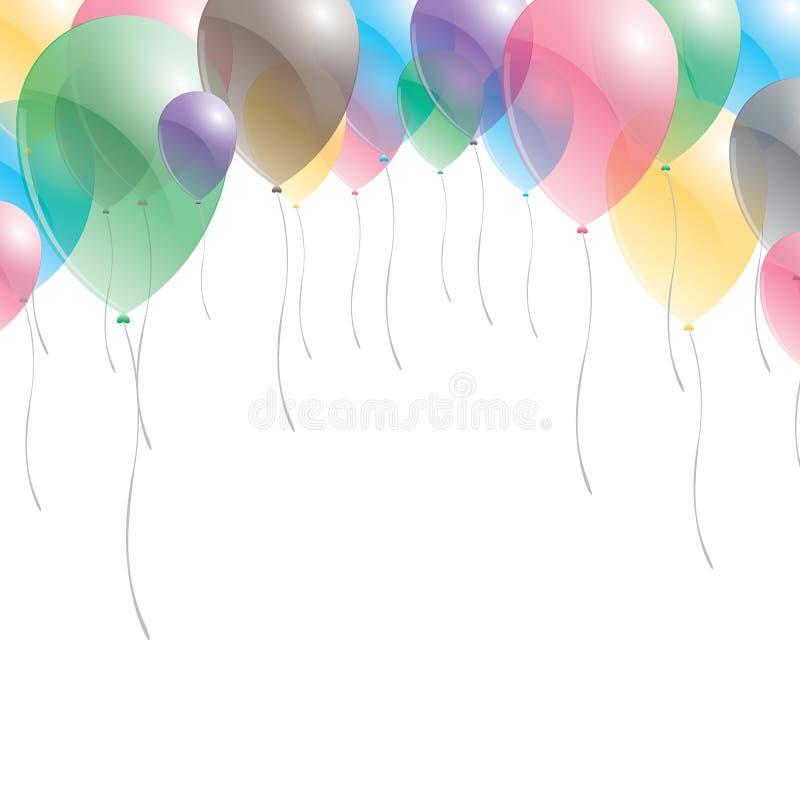 迅速增加背景 在天空背景的气球 迅速增加多彩多姿 皇族释放例证