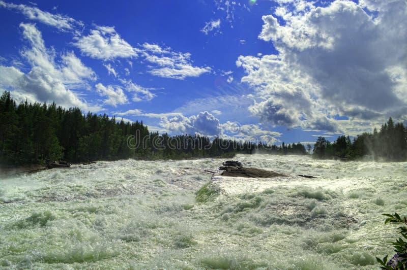 迅速河和瀑布Storforsen在瑞典 免版税库存图片