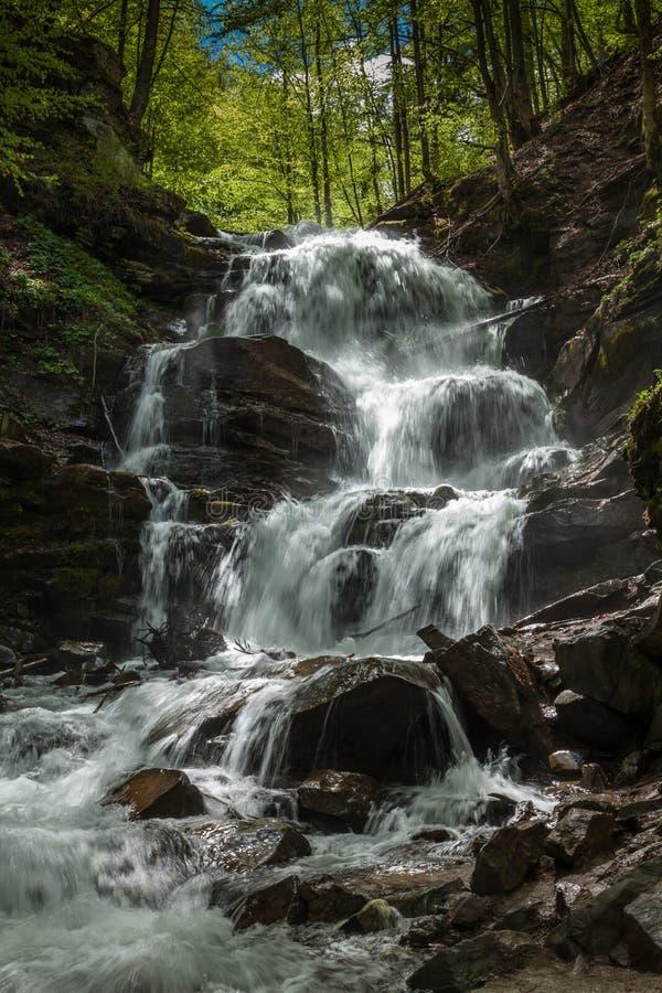 迅速瀑布在喀尔巴阡山脉 免版税库存照片