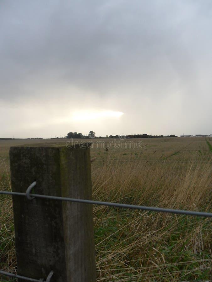 迅速移动由于有麦田的木篱芭岗位在背景中 库存照片