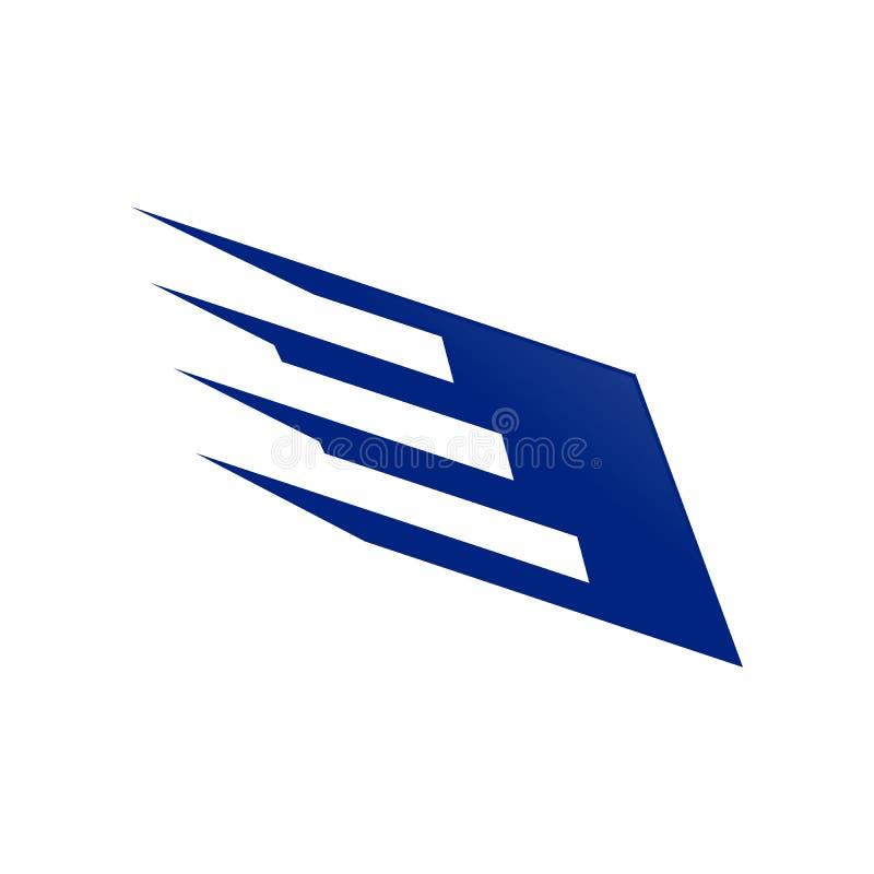 迅速翼钢青色技术标志商标设计 向量例证