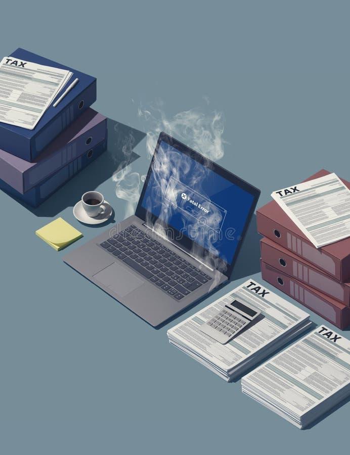 过度加热的计算机和堆报税表 库存照片
