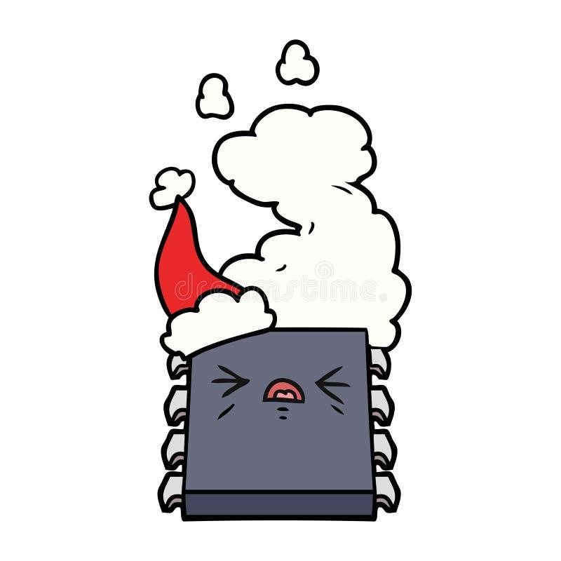 过度加热的计算机芯片的戴圣诞老人帽子的线描 皇族释放例证