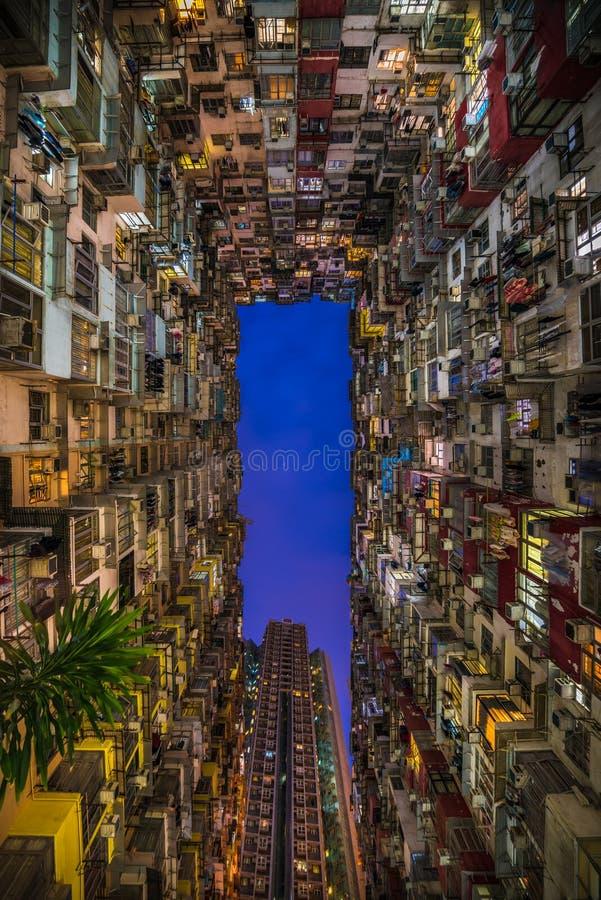 过度拥挤的居民住房在香港 库存图片