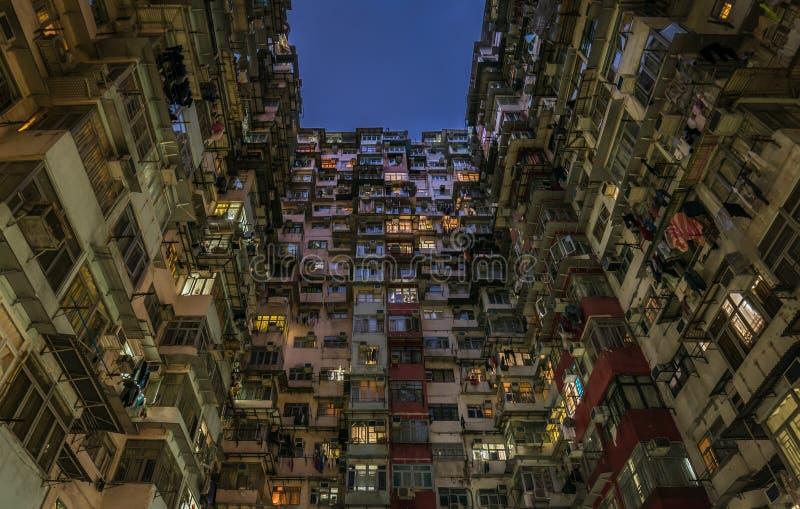 过度拥挤的居民住房在香港 免版税库存图片
