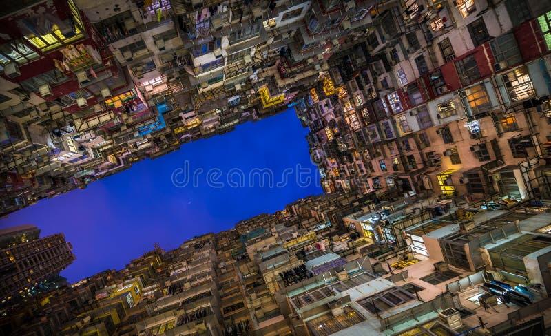 过度拥挤的居民住房在香港 免版税库存照片