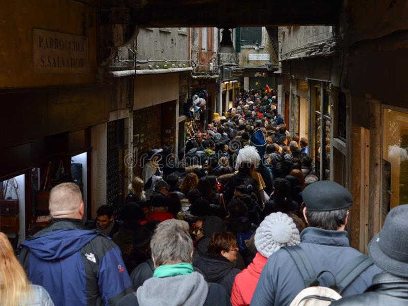 过度拥挤的街道在威尼斯 免版税库存照片