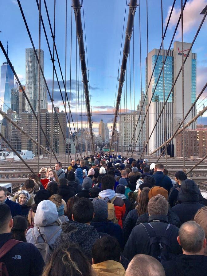 过度拥挤的Brooklin桥梁 库存图片
