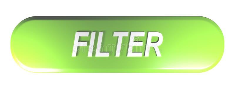 过滤器绿色被环绕的长方形按钮- 3D翻译例证 库存例证