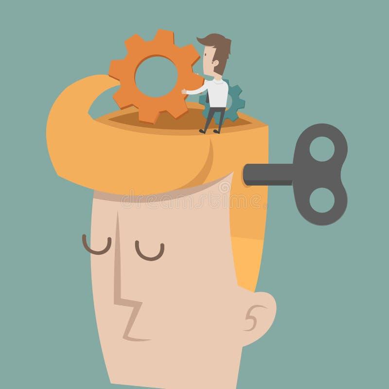 过程中头和脑子的齿轮 库存例证