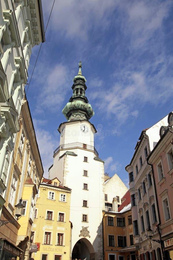 迈克尔的塔(Michalska Brana)和老镇在布拉索夫, Sl 图库摄影