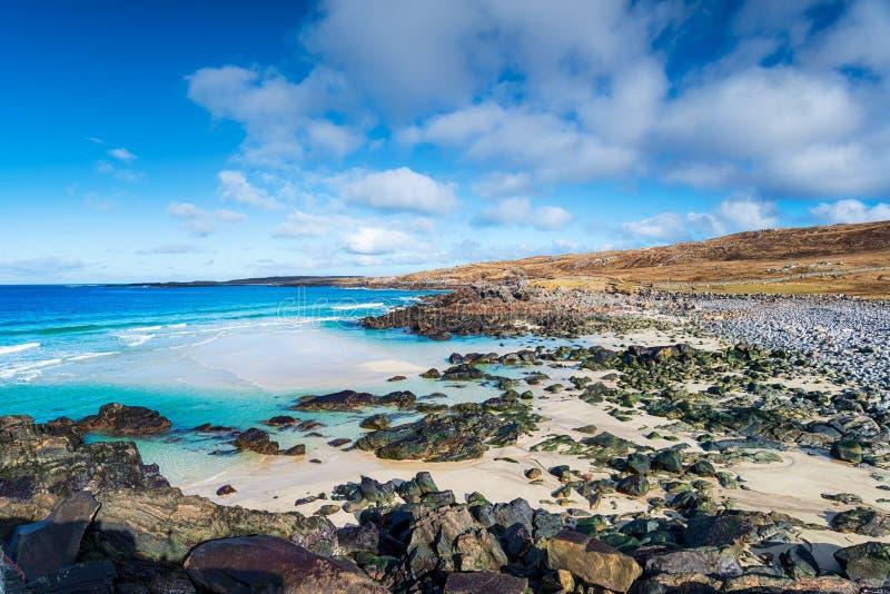 迈利斯塔海滩的蓝天 库存照片
