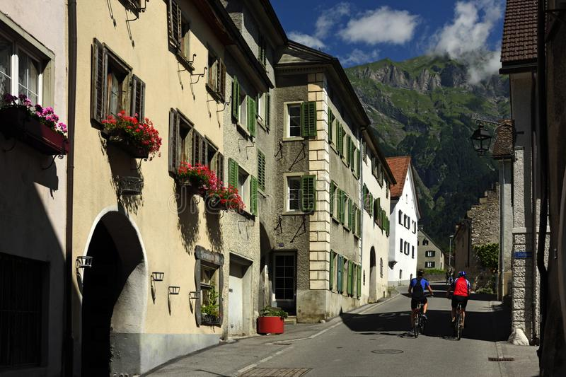 迈恩费尔德,格劳宾登州,瑞士 免版税库存图片
