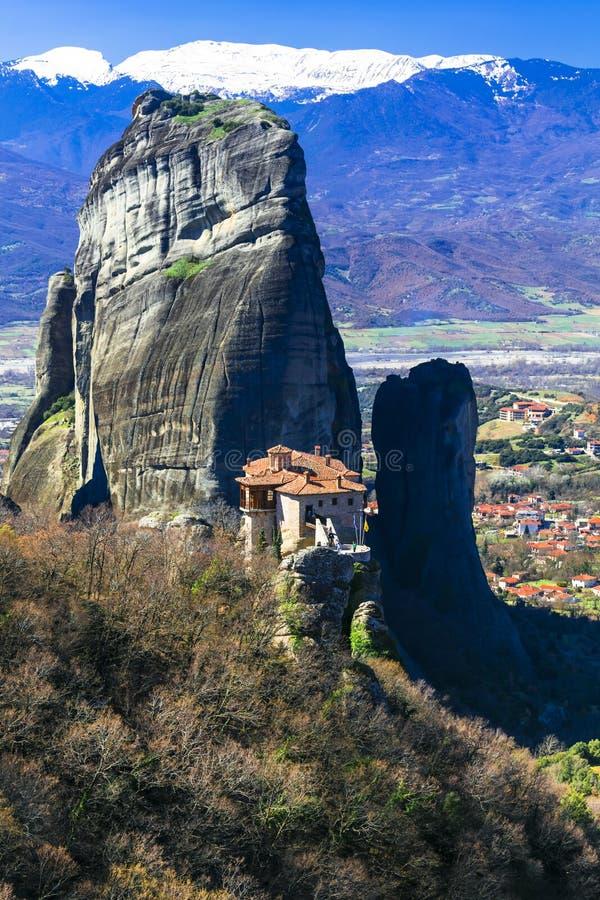 迈泰奥拉修道院-希腊中部著名地标  Roussanou修道院看法  免版税库存照片