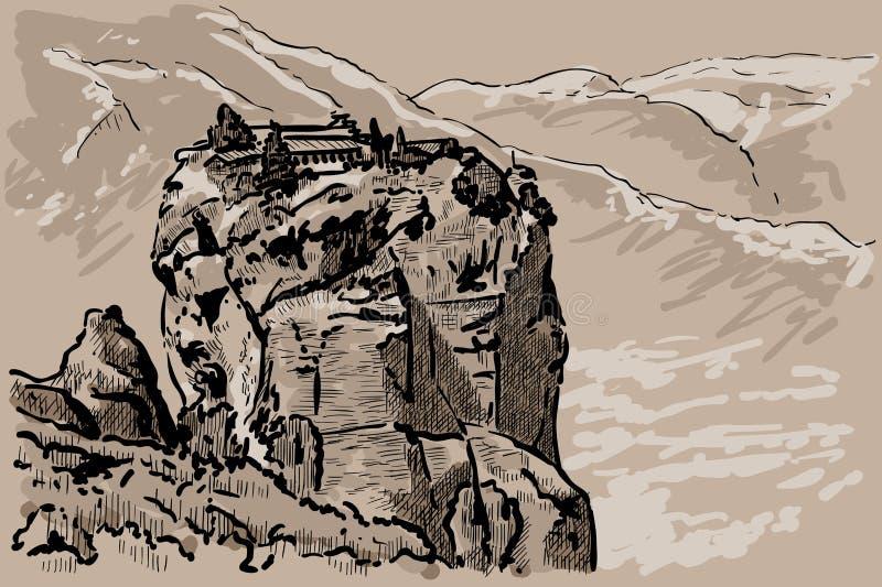 迈泰奥拉山的修道院  希腊 数字式剪影手图画传染媒介 例证 皇族释放例证