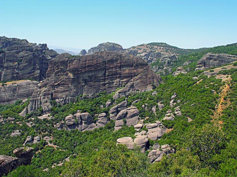 迈泰奥拉,希腊岩石  库存照片