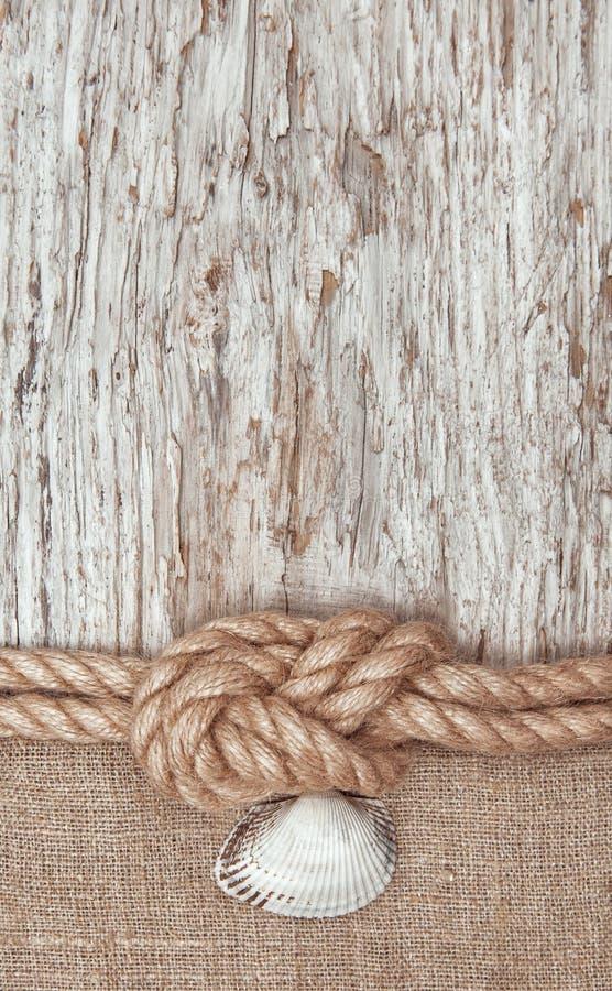 年迈的纸与船绳索和贝壳 免版税图库摄影