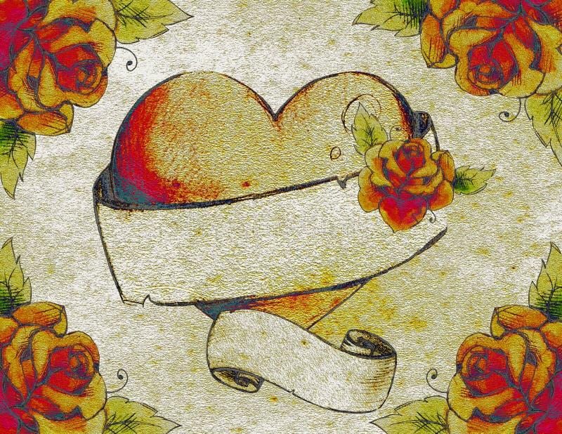 难看的东西玫瑰和心脏横幅 向量例证