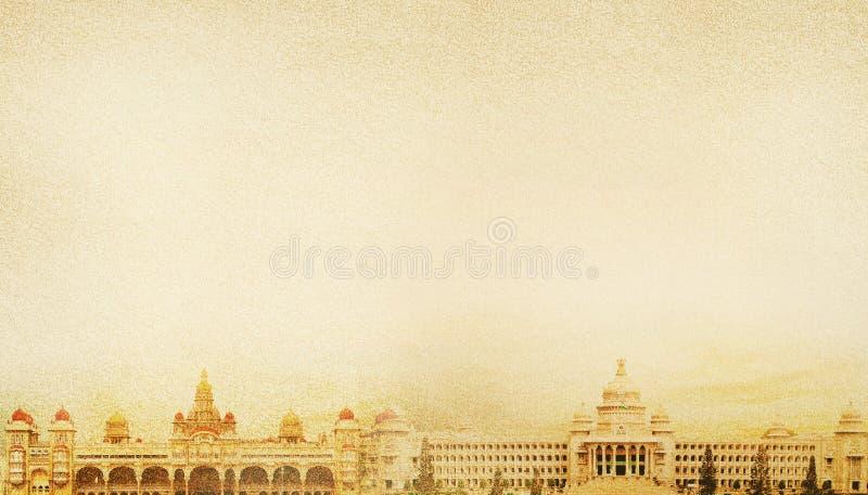 迈索尔宫殿和vidhanasoudha 库存图片