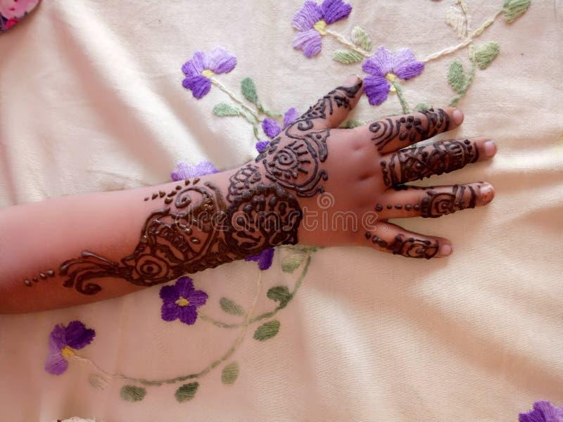 迈赫迪设计临时印度tatoo 免版税库存照片