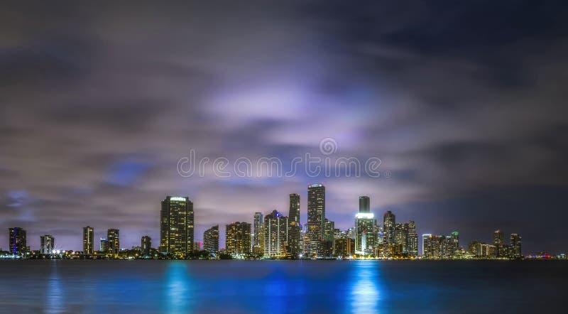 迈阿密佛罗里达城夜景 免版税图库摄影