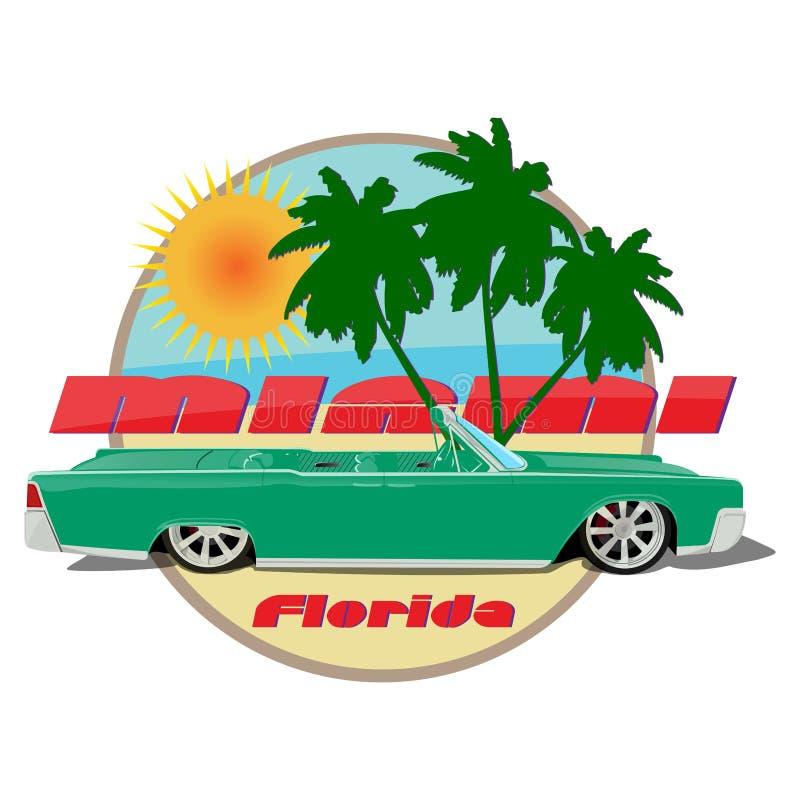 迈阿密佛罗里达汽车卡迪拉克敞蓬车绿色 向量例证