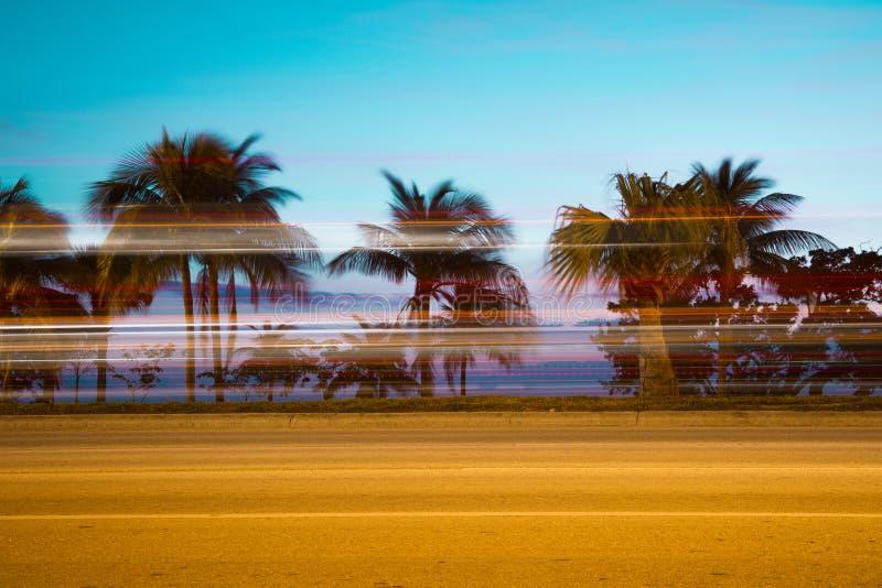 迈阿密佛罗里达高速公路迷离 免版税库存照片