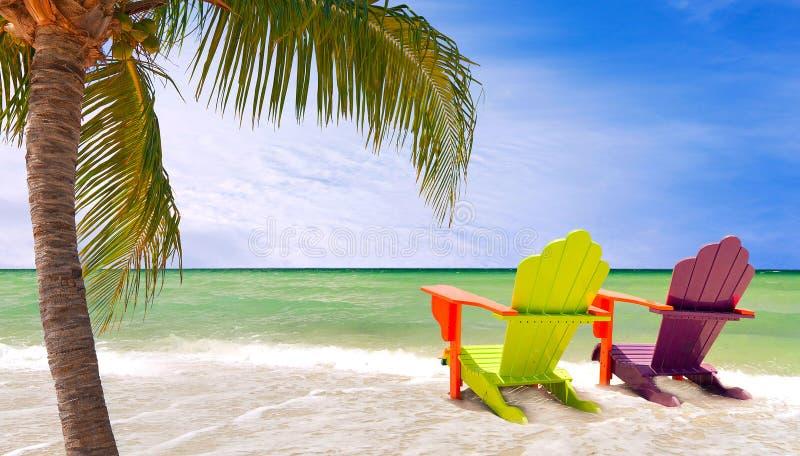 迈阿密佛罗里达,五颜六色的躺椅全景  库存图片