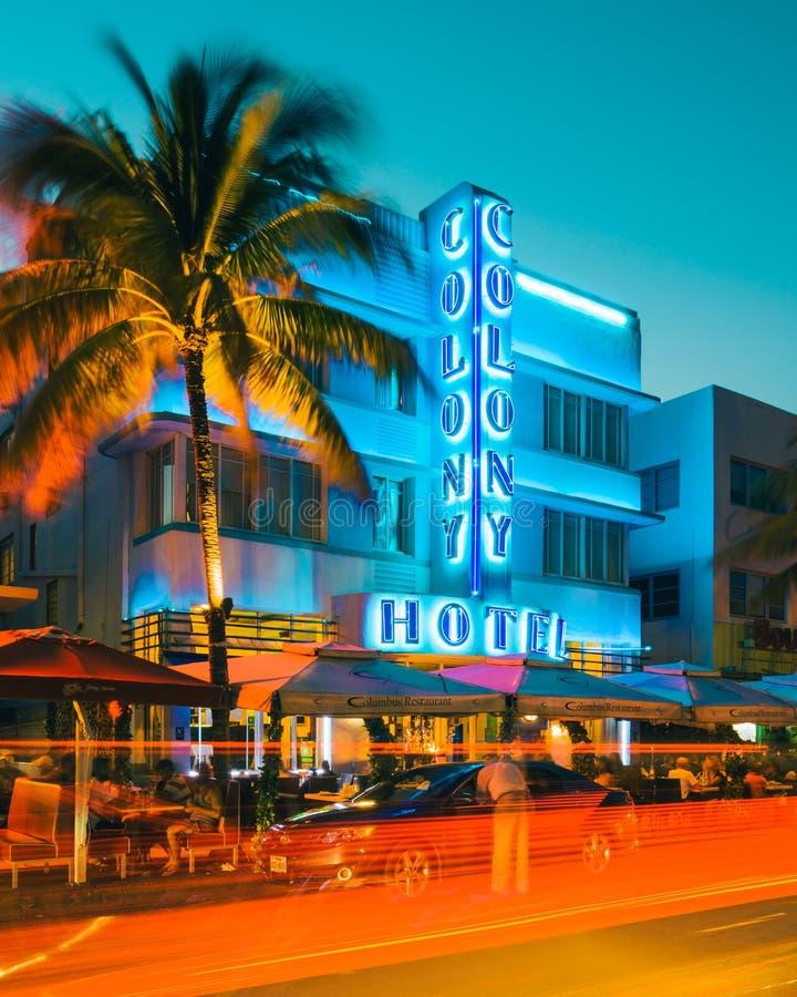 迈阿密南海滩的佛罗里达美国殖民地旅馆 图库摄影