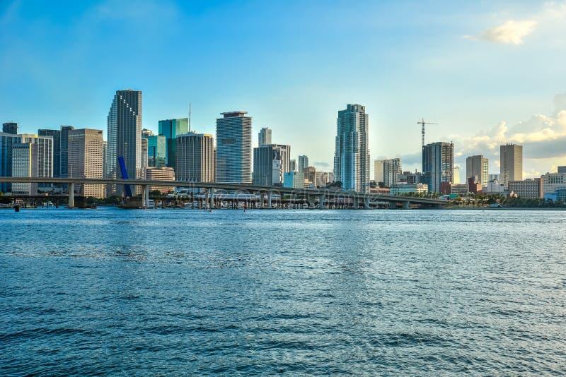 迈阿密南海滩,在加勒比海的晴朗的夏日,举世闻名的旅行地点在佛罗里达,美国 免版税库存照片