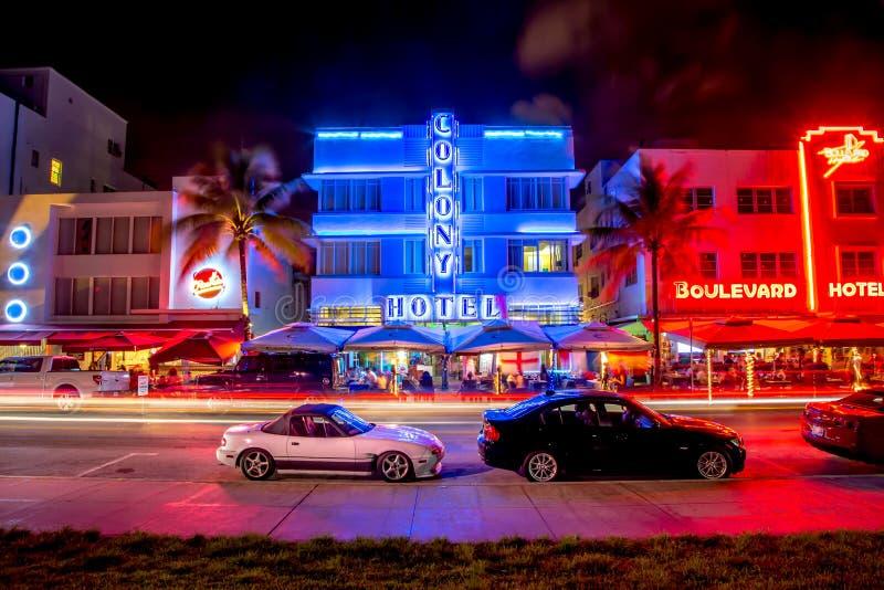 迈阿密南海滩夜氖 库存照片