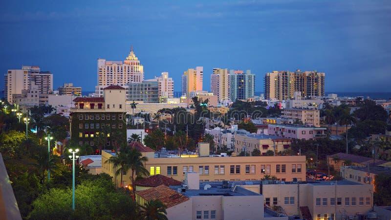 迈阿密南海滩微明 库存照片