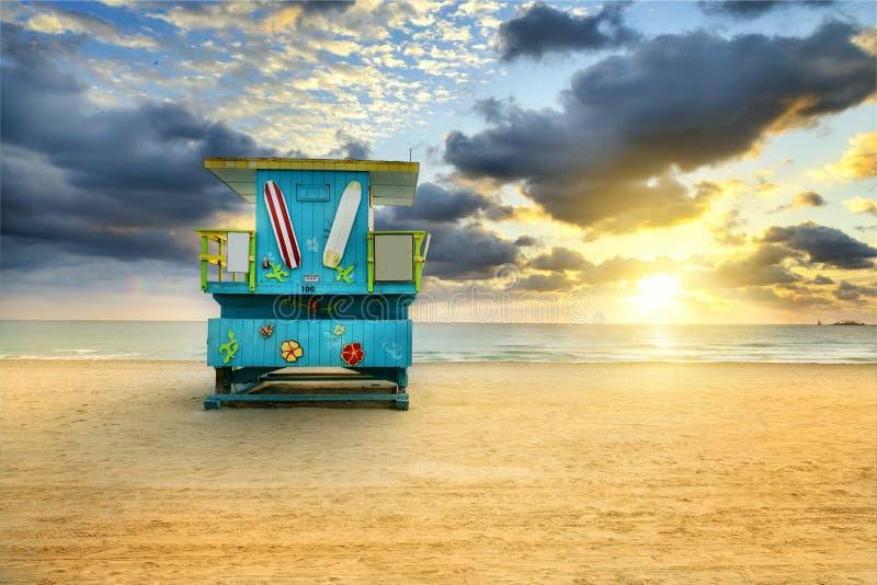 迈阿密南海滩日出 免版税库存图片