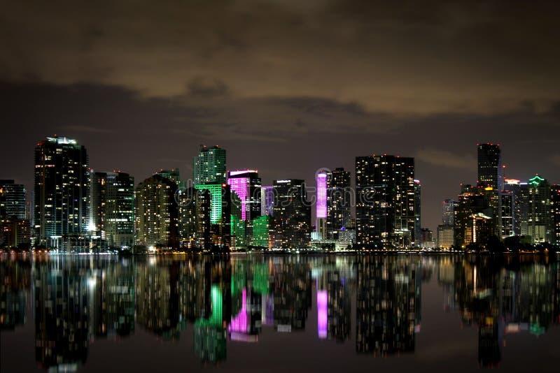 迈阿密地平线在晚上 库存照片