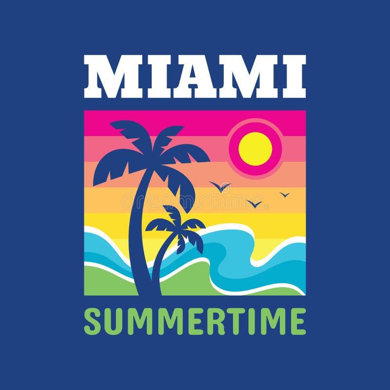 迈阿密夏令时- T恤杉的徽章设计 在葡萄酒样式的商标 夏天,太阳,棕榈树,海波浪 r 库存例证