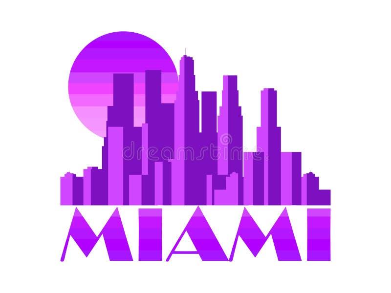 迈阿密市 在白色背景隔绝的摩天大楼 向量 皇族释放例证