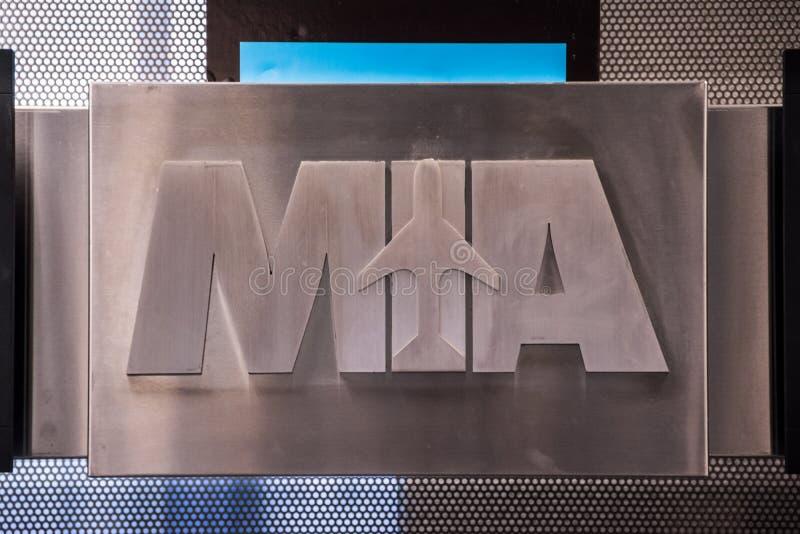 迈阿密机场标志 免版税图库摄影