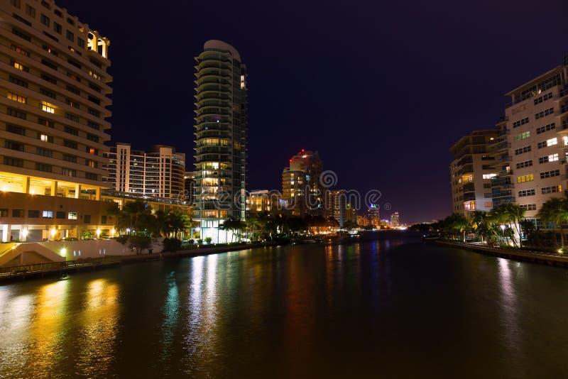 迈阿密海滩市风景在晚上 库存照片