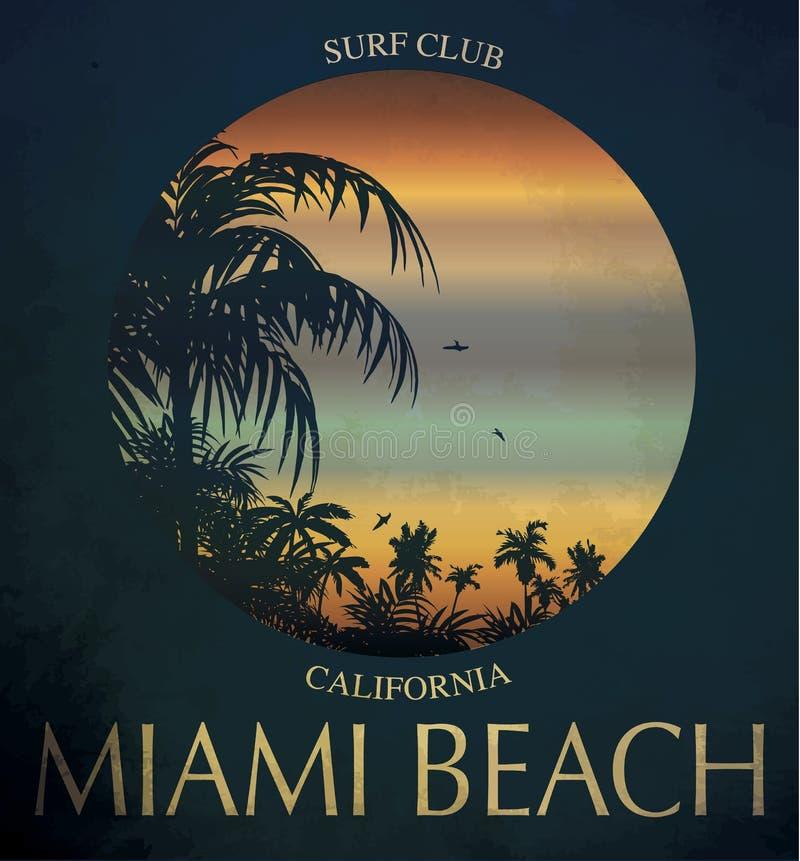 迈阿密海滩海浪俱乐部概念冲浪减速火箭的徽章的传染媒介夏天 皇族释放例证