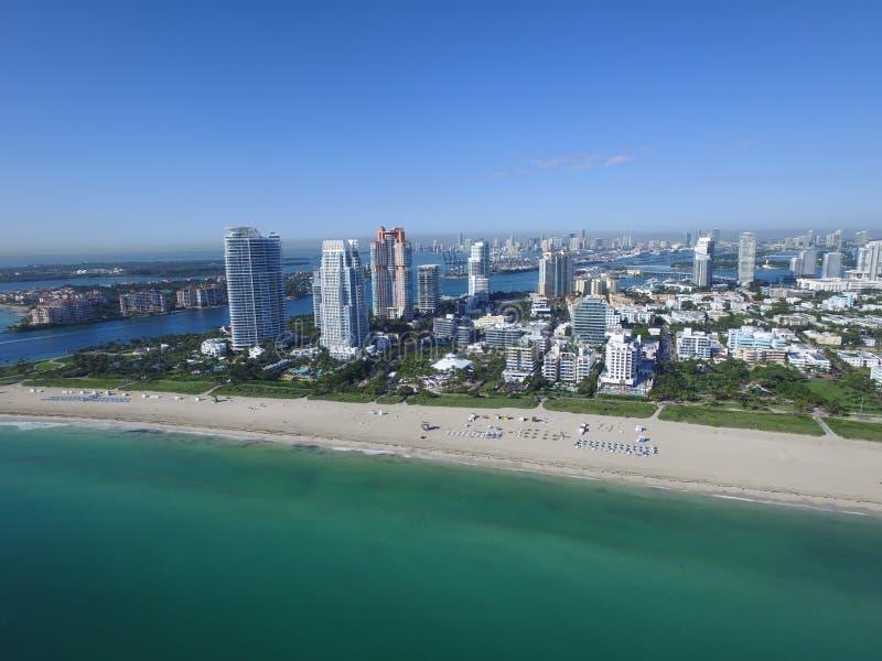 迈阿密海滩的空中图象 图库摄影