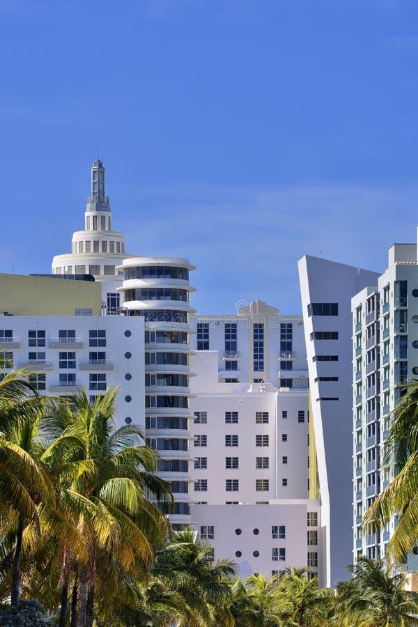迈阿密海滩艺术装饰旅馆 免版税库存照片