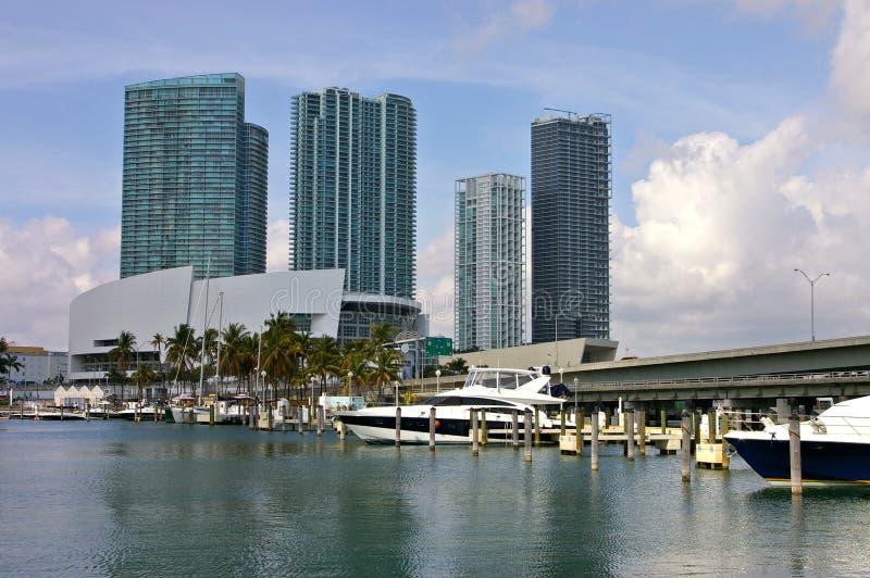 迈阿密港的看法  免版税图库摄影