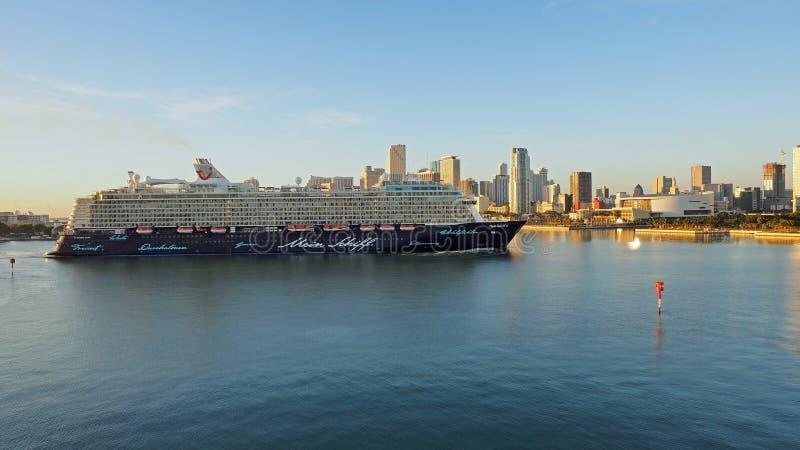 迈阿密游轮输入的港  图库摄影