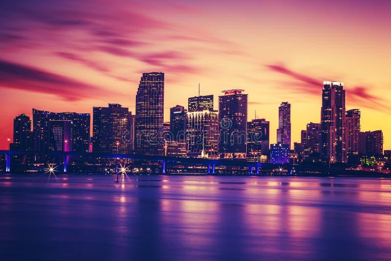 迈阿密看法日落的,特别摄影处理 库存图片