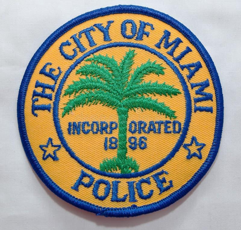 迈阿密警察局的肩章在佛罗里达 库存照片