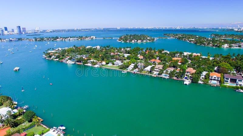 迈阿密鸟瞰图在一个晴天 免版税库存图片